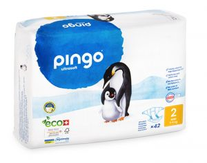 PINGO Pack Eco Couches Jetables Éco-conçues - x2 paquets T2 (3-6Kg) - 84 couches