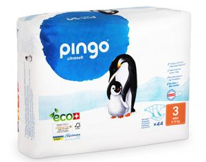 PINGO Pack Eco Couches Jetables Éco-conçues - x2 paquets T3 (4-9Kg) - 88 couches