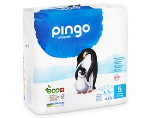 PINGO Pack Eco Couches Jetables Éco-conçues - x2 paquets T5 (11- 25 Kg) - 72 couches