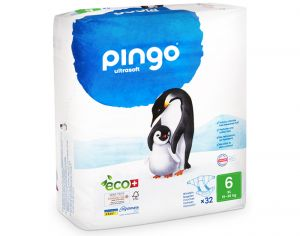PINGO Pack x2 Couches Écologiques Ultra Soft T6 / 16-30 kg / 2 x 32 couches