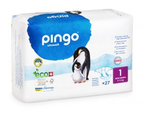 PINGO Pack Eco Couches Jetables Éco-conçues - x4 paquets T1 (2-5Kg) - 108 couches