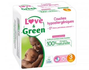 Couches Love & Green 0% - Couches Écologiques T3 / 4-9 kg / 32 couches