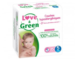 Couches Love & Green 0% - Couches Écologiques T5 / 12-25 Kg / 26 couches