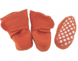 DISANA Chaussons Anti-D�rapants en Laine - Orange