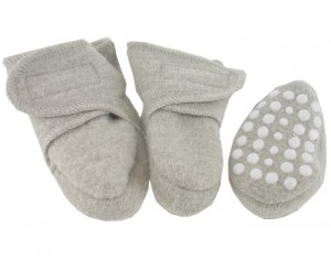 DISANA Chaussons Anti-D�rapants en Laine - Gris