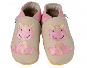 DAISY ROOTS Chaussons en Cuir Dragon Rose - Fait Main en Angleterre
