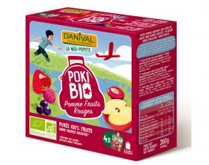 DANIVAL Poki Bio - Pack de 4 Gourdes Pomme Fruits Rouges - 4 x 90 g