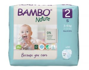 BAMBO NATURE Pack Eco - Couches Jetables Écologiques  T2 - 3-6 kg - 2 x 30 soit 60 couches