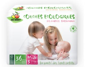 Couches Bio Babby - Couches Écologiques - x2 paquets T3 / 4-9 kg / 2 x 36 couches