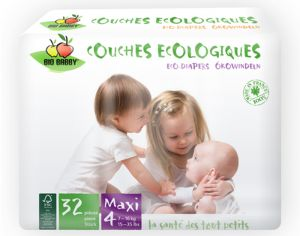 BIOBABBY Couches Jetables Écologiques - Maxi Pack Eco x4 4 Maxi 7-16 kg - 4 x 32 soit 128 couches