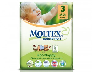 MOLTEX Couches Jetables Eco Nappy - Nature 1 4 - 9 Kg - 34 Couches