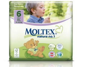MOLTEX Couches Jetables Eco Nappy - Nature 1 16 30 Kg - 22 Couches