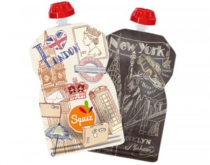 SQUIZ Lot de 2 Gourdes Réutilisables - Londres et New York - 130 ml