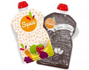 SQUIZ Lot de 2 Gourdes Réutilisables - Tatin et Fruits Colorés - 130 ml