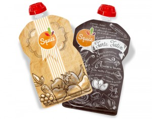 SQUIZ Lot de 2 Gourdes Réutilisables - Tatin et Fruits Kraft - 130 ml