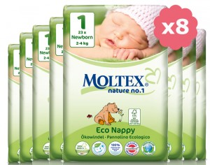MOLTEX Pack Ultra Eco - Couches Jetables Eco Nappy T1 2-4 kg - 8 x 23, soit 184 couches