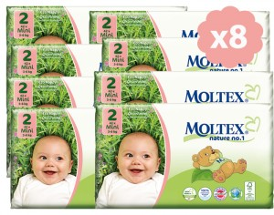 MOLTEX Pack Ultra Eco - Couches Jetables Eco Nappy T2 3-6 kg - 8 x 42, soit 336 couches
