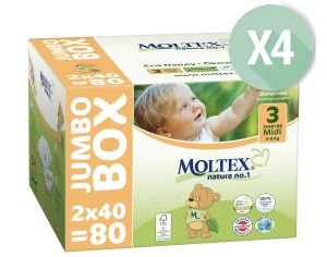 MOLTEX Pack Ultra Eco - Couches Jetables Eco Nappy T3 4-9 kg - 4 x 80, soit 320 couches