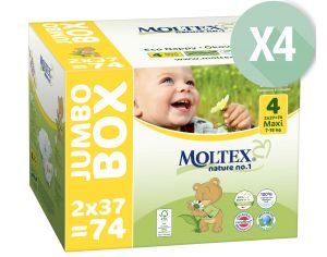 MOLTEX Pack Ultra Eco - Couches Jetables Eco Nappy T4 7-18 kg - 4 x 74, soit 296 couches