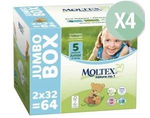 MOLTEX Pack Ultra Eco - Couches Jetables Eco Nappy T5 11-25 kg - 4 x 64, soit 256 couches