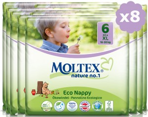 MOLTEX Pack Ultra Eco - Couches Jetables Eco Nappy T6 16-30 kg - 8 x 22, soit 176 couches