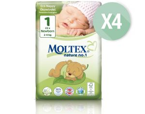 MOLTEX Maxi Pack Eco - Couches Jetables Eco Nappy T1 2-4 kg - 4 x 23, soit 92 couches