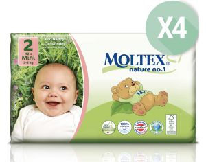 MOLTEX Maxi Pack Eco - Couches Jetables Eco Nappy T2 3-6 kg - 4 x 42, soit 168 couches