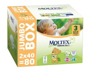 MOLTEX Jumbo x2 Couches Écologiques Nature N°1 - Eco Nappy T3 4-9 kg - 2 x 80 couches