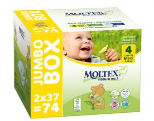 MOLTEX Maxi Pack Eco - Couches Jetables Eco Nappy T4 7-18 kg - 2 x 74, soit 148 couches
