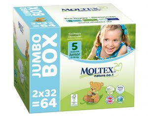 MOLTEX Jumbo x2 Couches Écologiques Nature N°1 - Eco Nappy T5 11-25 kg - 2 x 64 couches