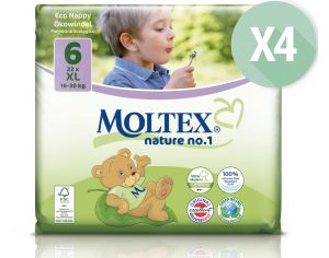 MOLTEX Maxi Pack Eco - Couches Jetables Eco Nappy T6 16-30 kg - 4 x 22, soit 88 couches
