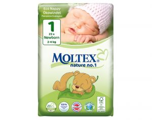 MOLTEX Pack x2 Couches Écologiques Nature N°1 - Eco Nappy T1 2-4 kg - 2 x 23 couches