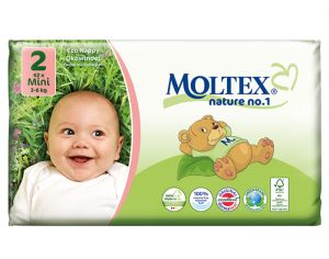 MOLTEX Pack x2 Couches Écologiques Nature N°1 - Eco Nappy T2 3-6 kg - 2 x 42 couches