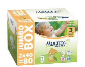 MOLTEX Pack x2 Couches Écologiques Nature N°1 - Eco Nappy T3 4-9 kg - 2 x 40 couches