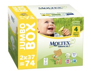 MOLTEX Pack x2 Couches Écologiques Nature N°1 - Eco Nappy T4 7-18 kg - 2 x 37 couches