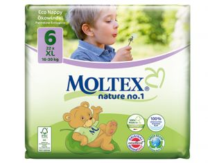 MOLTEX Pack x2 Couches Écologiques Nature N°1 - Eco Nappy T6 16-30 kg - 2 x 22 couches