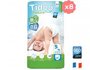 TIDOO Pack Ultra Eco Couches Jetables Écologiques - x8 paquets Junior 12-25 kg - 368 couches
