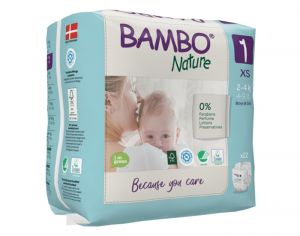 BAMBO NATURE Maxi Pack Ultra Eco x8 - Couches Jetables Écologiques T1 - 2-4 kg kg - 8 x 28 soit 224 couches