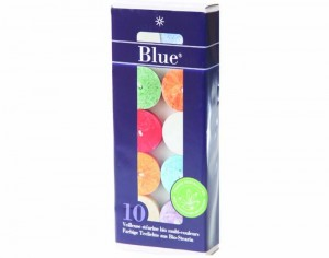 BLUE Lot de 10 Veilleuses Stéarine Multicolores