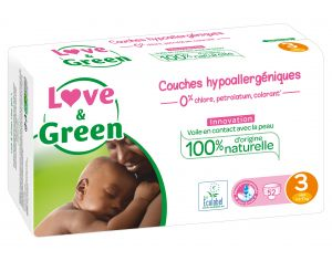 LOVE & GREEN Pack Eco - Couches Jetables T3 4-9 Kg - 52 couches