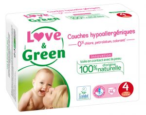 LOVE & GREEN Pack Eco - Couches Jetables T4 7-14 Kg - 46 couches