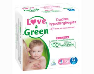 LOVE & GREEN Pack Eco - Couches Jetables T5 12-25 Kg - 40 couches