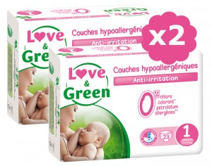 LOVE & GREEN Pack Eco - Couches Jetables T1 2-5 kg - 2 x 23 soit 46 couches