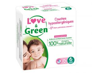 LOVE & GREEN Pack Eco - Couches Jetables T6 + 16 Kg - 34 couches