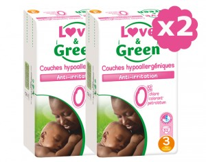 LOVE & GREEN Maxi Pack Eco - Couches Jetables T3 4-9 kg - 2 x 52 soit 104 couches