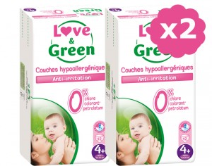 LOVE & GREEN Maxi Pack Eco - Couches Jetables T4+ 9-20 Kg - 2 x 42 soit 84 couches