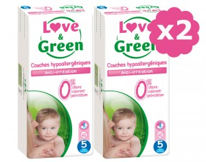 LOVE & GREEN Maxi Pack Eco - Couches Jetables T5 12-25 Kg - 2 x 40 soit 80 couches