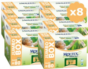 MOLTEX Mega Pack Eco - Couches Jetables Eco Nappy T3 4-9 kg - 8 x 80, soit 640 couches