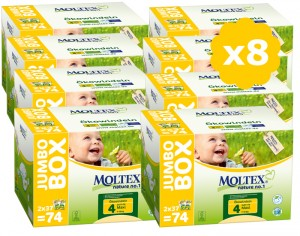 MOLTEX Mega Pack Eco - Couches Jetables Eco Nappy T4 7-18 kg - 8 x 74, soit 592 couches