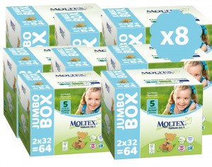 MOLTEX Mega Pack Eco - Couches Jetables Eco Nappy T5 11-25 kg - 8 x 64, soit 512 couches